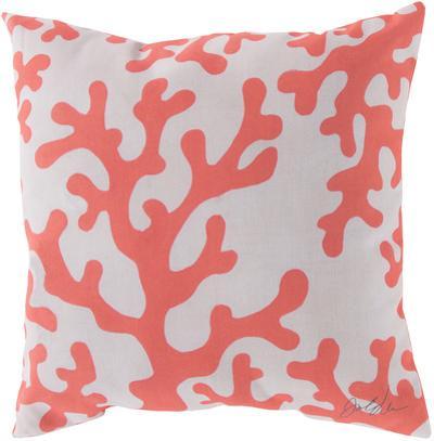 Rain Coral Motif Pillow - Sorbet Orange