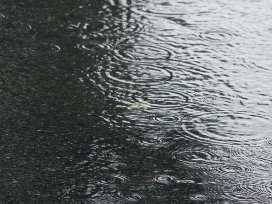 Rain Falling on Puddle--Photographic Print