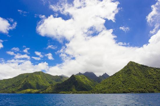 Rain Forest-Covered Mountains Along the Coast of Tahiti-Mike Theiss-Photographic Print