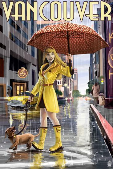 Rain Girl Pinup - Vancouver, BC-Lantern Press-Art Print