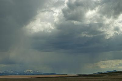 Rain Squalls Hover over Lonely Prairies, Ranchlands and Mountains North of Three Forks, Montana-Gordon Wiltsie-Photographic Print