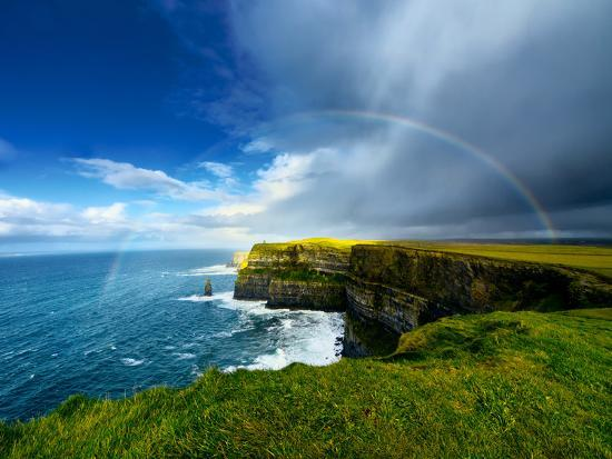 Rainbow above Cliffs of Moher. Ireland.-liseykina-Photographic Print