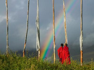 Rainbow and Monks with Praying Flags, Phobjikha Valley, Gangtey Village, Bhutan-Keren Su-Photographic Print