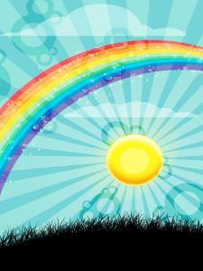 Rainbow and Sun over Country Field