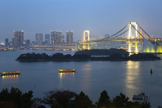 Rainbow Bridge from Odaiba, Tokyo, Japan, Asia-Stuart Black-Photographic Print