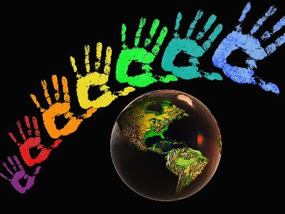 Rainbow-Colored Hands with the Earth-Carol & Mike Werner-Photographic Print