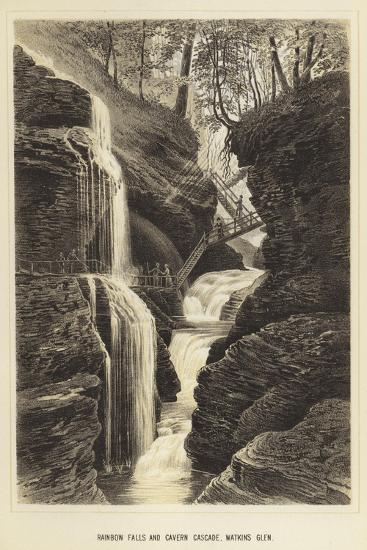 Rainbow Falls and Cavern Cascade, Watkins Glen--Giclee Print