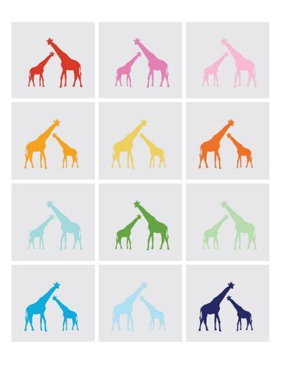 Rainbow Giraffe Squares on Grey-Avalisa-Art Print
