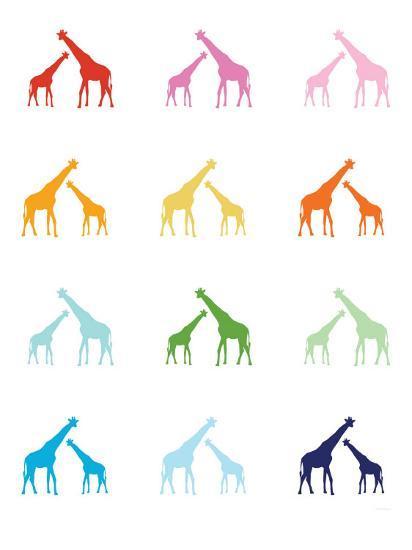 Rainbow Giraffes-Avalisa-Art Print