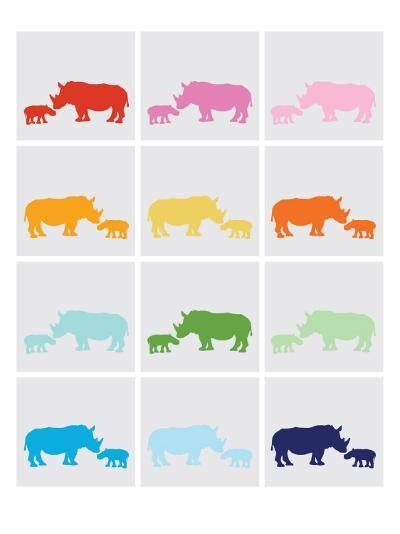 Rainbow Grey Rhinos-Avalisa-Art Print