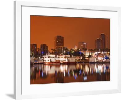 Rainbow Harbor and Skyline, Long Beach City, Los Angeles, California, USA-Richard Cummins-Framed Photographic Print