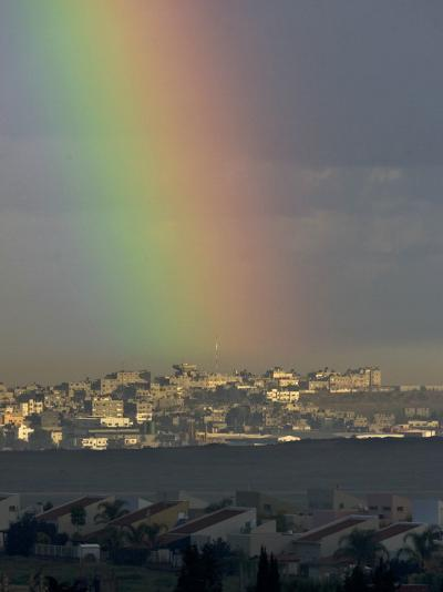 Rainbow is Seen over the Northern Gaza Strip, from the Israel-Gaza Border--Photographic Print