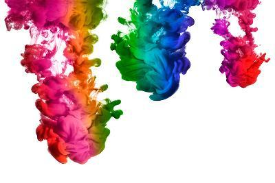 Rainbow of Acrylic Ink in Water. Color Explosion-Casther-Photographic Print