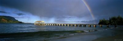 Rainbow over a Pier, Hanalei, Kauai, Hawaii, USA--Photographic Print