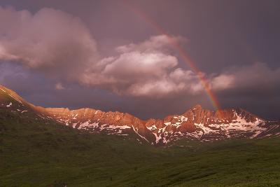 Rainbow Over Belleview Mt & Fravert Basin, While Backpacking Four Pass Loop, Near Aspen Colorado-Austin Cronnelly-Photographic Print