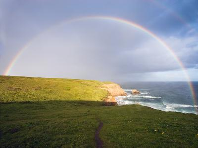 Rainbow Over Chimney Rock, California-George Oze-Photographic Print