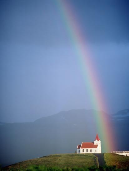 Rainbow over Church and Snaefellsness-Design Pics Inc-Photographic Print