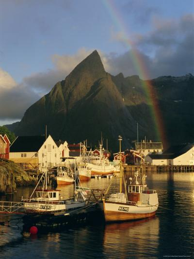 Rainbow Over Colourful Fishing Village of Hamnoy, Moskenesoya, Lofoten Islands, Nordland, Norway-Gavin Hellier-Photographic Print