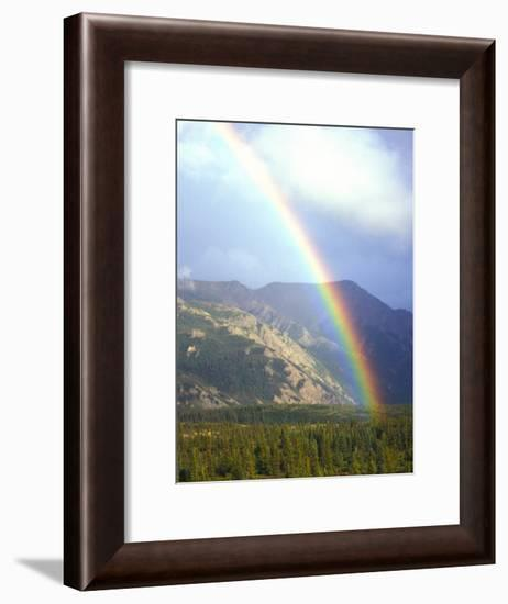 Rainbow over Forest, Alaska-Nick Norman-Framed Photographic Print