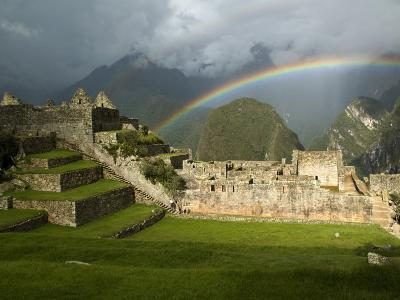 Rainbow over Incan Ruins of Machu Picchu-Emily Riddell-Photographic Print