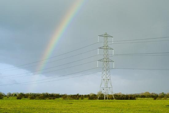 Rainbow Over Power Lines-Duncan Shaw-Photographic Print