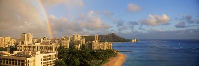 Rainbow over the Beach, Diamond Head, Waikiki Beach, Oahu, Honolulu, Hawaii, USA--Photographic Print
