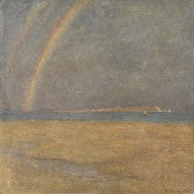 Rainbow over the Needles, Isle of Wight, C.1890 (Oil on Board)-Arthur George Bell-Giclee Print