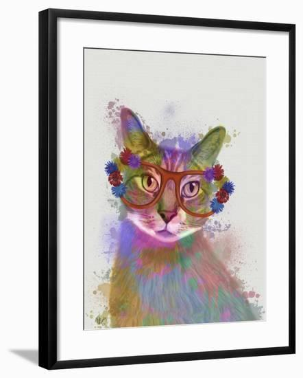 Rainbow Splash Cat 1-Fab Funky-Framed Art Print