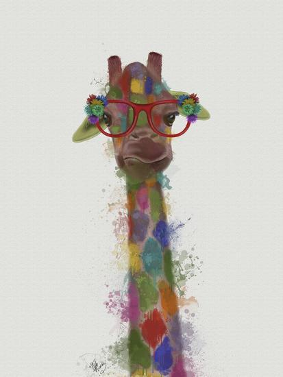 Rainbow Splash Giraffe 3-Fab Funky-Art Print