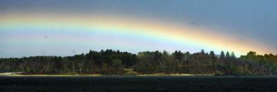Rainbow Stretches over Mackworth Island, in Casco Bay Along the Atlantic Ocean in Falmouth, Maine--Photographic Print
