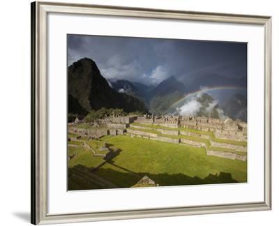 Rainbows Above Machu Picchu-Michael Melford-Framed Photographic Print