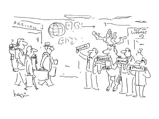 Raindeer waiting at airport holding 'Claus' sign with other drivers. - Cartoon-Arnie Levin-Premium Giclee Print