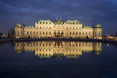 Austria, Vienna, Palace Belvedere, Outside-Facade, Panorama, Evening-Mood by Rainer Mirau