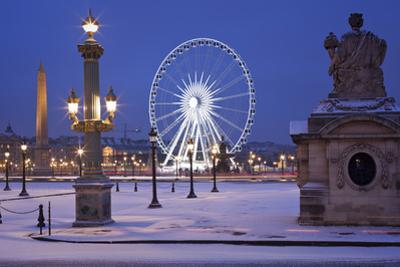 France, Paris, Ile De France, Elysee, Place De La Concorde, Ferris Wheel, Lantern, Snow by Rainer Mirau