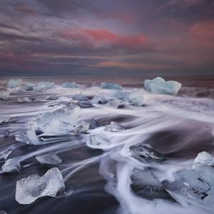 Ice Chunks on the Beach Next to Glacial River Lagoon Jškuls‡rlon (Lake), East Iceland, Iceland by Rainer Mirau