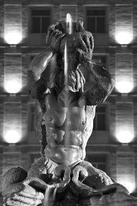 Italy, Rome, Fountain, Fontana Del Tritone, Fountain Figure, Sea God, Detail, Lighting, Night, S/W by Rainer Mirau