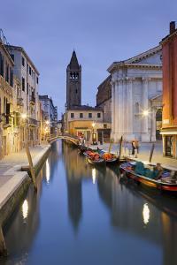 Italy, Veneto, Venice, Dorsoduro, Rio Di San Barnaba, Boats, Campo, Dusk by Rainer Mirau
