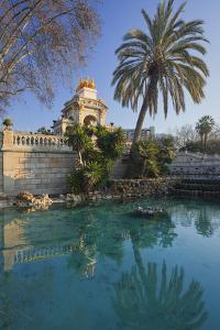 Spain, Catalonia, Barcelona, Parc De La Ciutadella, Wells, Palm by Rainer Mirau