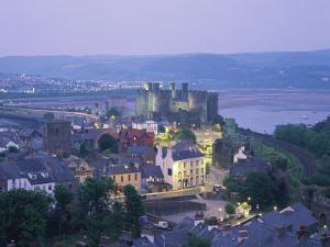 Aerial of Conway and Castle, UNESCO World Heritage Site, Gwynedd, North Wales, United Kingdom by Rainford Roy
