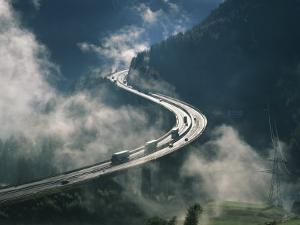 Cloud on Either Side of Elevated Road at the Brenner Pass in Austria, Europe by Rainford Roy