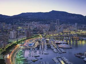 Marina, Waterfront and Town of Monte Carlo in the Evening, Monaco, Mediterranean, Europe by Rainford Roy
