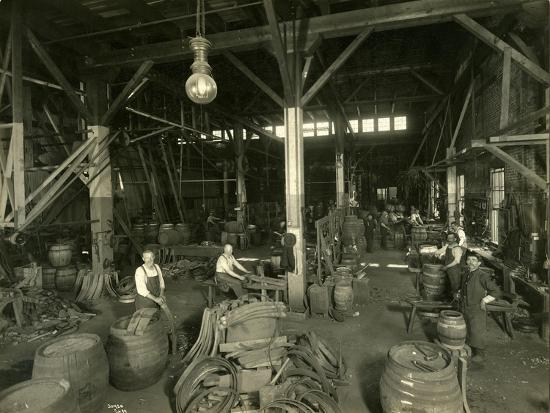 Rainier Brewing and Malting Co., Cooper Shop, 1914-Asahel Curtis-Giclee Print