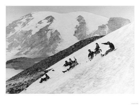 Rainier National Park Summer Snow Sledding Photograph - Mount Rainier, WA-Lantern Press-Art Print
