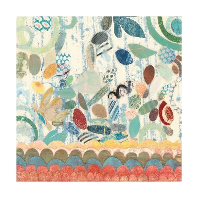 Raining Flowers with Border Square II-Candra Boggs-Art Print