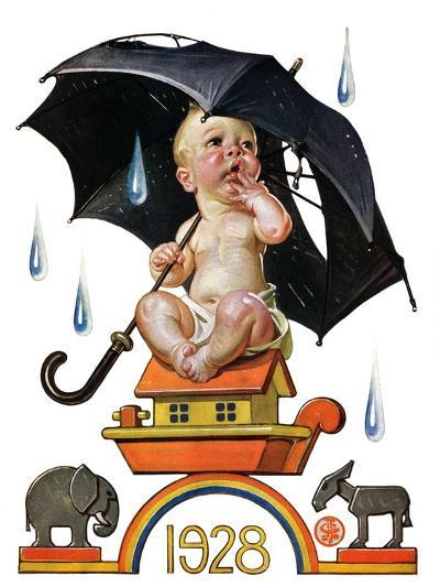 """Raining on Baby New Year,""December 31, 1927-Joseph Christian Leyendecker-Giclee Print"