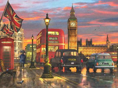 Raining Parliament Square (Variant 1)-Dominic Davison-Art Print
