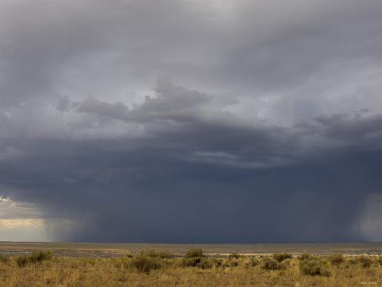 Rainstorm over the Arid Plains of the Four Corners Area, New Mexico--Photographic Print