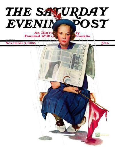 """Rainy Football Game,"" Saturday Evening Post Cover, November 5, 1938-Douglas Crockwell-Giclee Print"