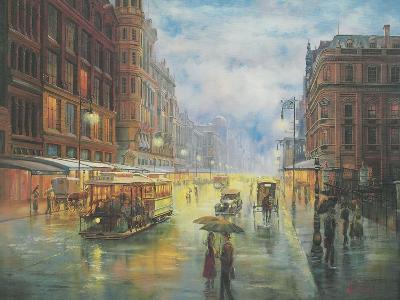 Rainy Night - Collins St. Melbourne-John Bradley-Giclee Print