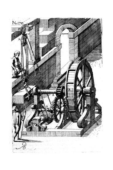 Raising a Slab of Stone Using a Block-And-Tackle Mechanism, 1620--Giclee Print